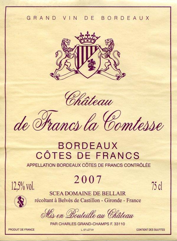 Blason de Frances la Comtesse